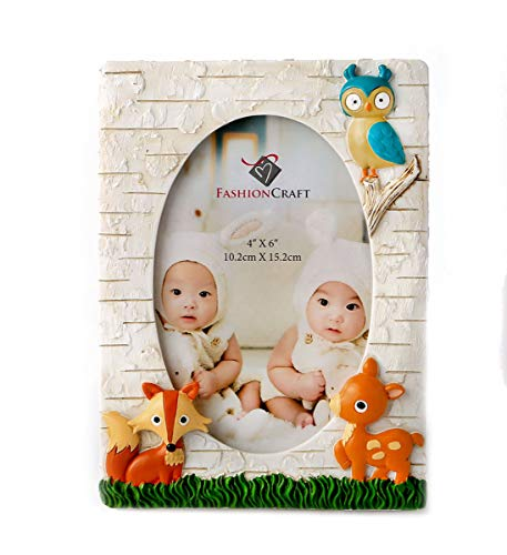 Fashioncraft Woodland Animals 4x6 Photo Frame - Polyresin - Handpainted - Oval Insert - Gender Neutral for Boys and Girls - Baby Room Décor (Owl Nursery Pictures)