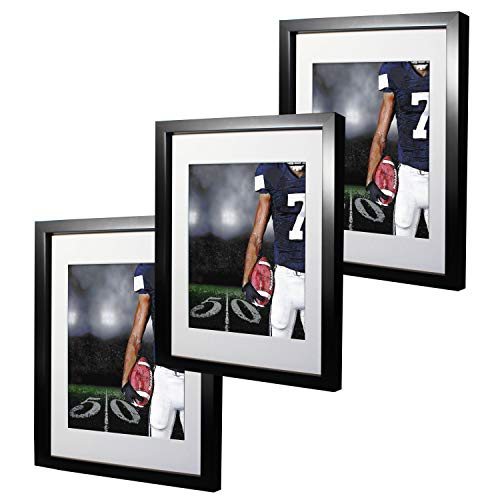 11x14 Black Picture Frames with 8x10 Mat for Wall and Table Stand Photo Artwork Display Set of 3 Pack Ideal Thanksgiving - 8x10 With Frame Picture Black Mat