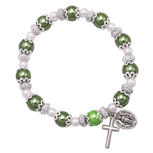 Rosemarie Collections Women's Simulated Pearl Beaded Stretch Rosary Bracelet with Crucifix and Miraculous Medal (Dark Green)
