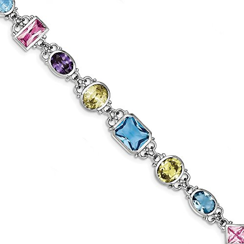 Sterling Silver Rhodium Plated 7.5inch Multicolored CZ Bracelet by CoutureJewelers