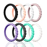Egnaro Silicone Wedding Ring for Women,Thin and Stackble Braided Rubber Wedding Bands,No-Toxic,Skin Safe