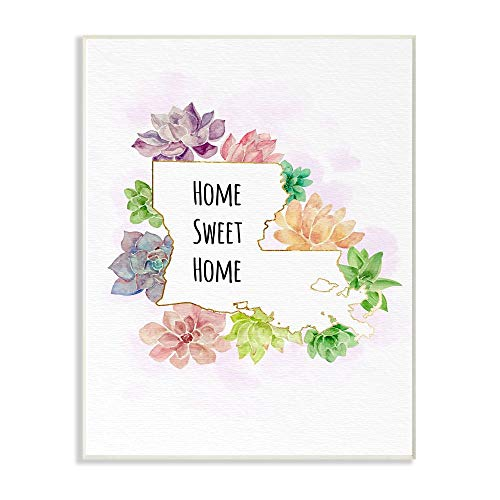 The Stupell Home Decor Collection Louisiana State Sweet Home Succulent Watercolor Vignette Wall Plaque Art, 10 x 15, Multi-Colored