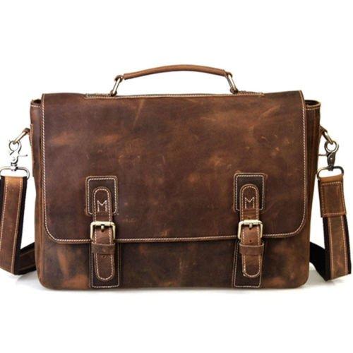 Handolederco. 15 Inch Retro Buffalo Hunter Leather Laptop Messenger Bag Office Briefcase College Bag