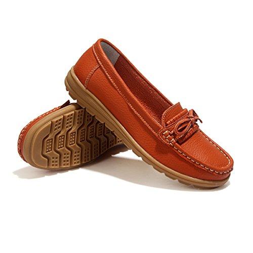 Feetmat Mocasines Para Mujer Zapatos De Barco De Peso Ligero Naranja