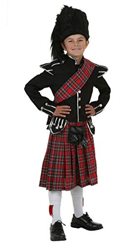 COSKING Scottish Soldier Costume for Boys, Deluxe Kids Halloween Cosplay Outfit (Tag Size-L)