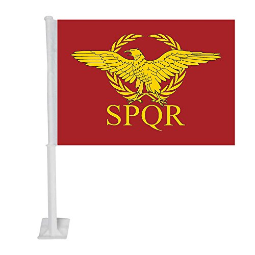 APFoo Roman Empire Senate and People of Rome car Window Flag 12x18inch with Pole (The Senate And The People Of Rome)