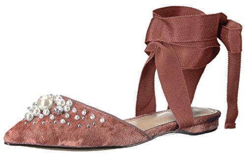 The Fix Women's Porter Pointed Toe Ankle Wrap Flat Slide Pearls, Sorbet Crushed Velvet, 8.5 B US ()