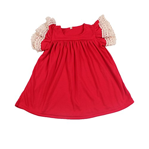 Yawoo Haan Baby Girls Cotton Boutique Dresses Toddler Pearl Dress Red 6-7T ()