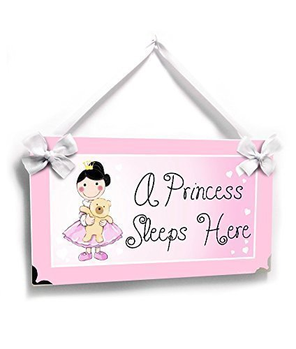 Personalized Themed Nursery Plaque A Princess Sleeps Here Pink Cute Princes Theme with Teddy Bear - Personalized Plaque Princess