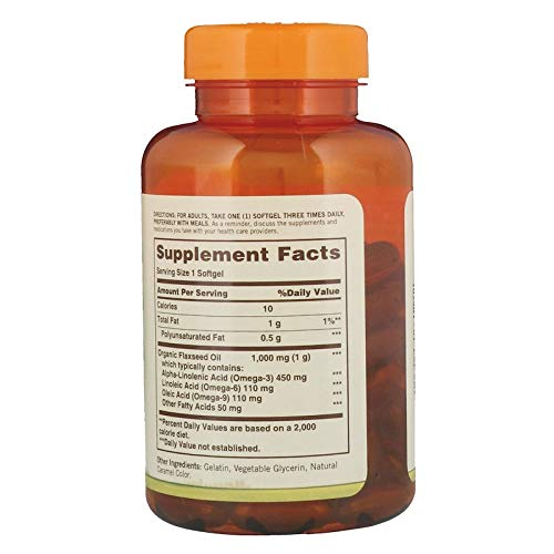 Sundown Naturals Flaxseed Oil 1000 mg Softgels 100 Soft Gels (Pack of 6)