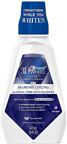Crest 3D White Luxe Diamond Strong Anticavity Fluoride Whitening Mouth Rinse, Clean Mint 16 oz (Pack of (Whitening Rinse)