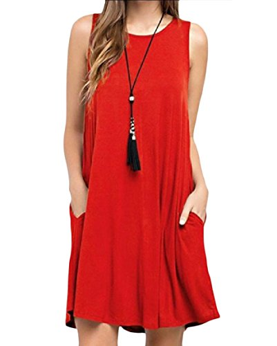 Baggy Red Colored Sundress Coolred Women's Style Tank Sleeveless Pocket Solid OFPRx