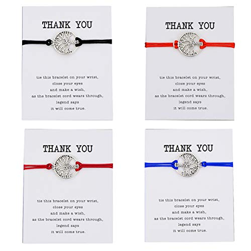 (Pipitree 4Pcs Thank You Wish Bracelet Gift Card Friendship Jewelry Tree of Life Charm Bracelet,Thank You)