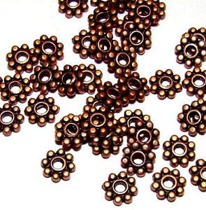 Dots Rondelle Beads - Steven_store MB32 Antiqued Copper 5mm Dot Flower Rondelle Pewter Metal Spacer Beads 24pc Making Beading Beaded Necklaces Yoga Bracelets