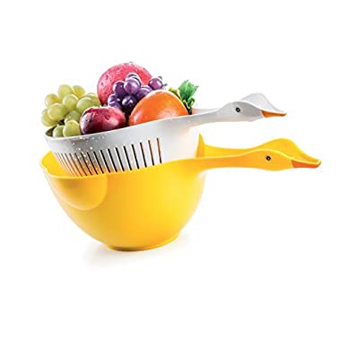 Estaly 2 Piece Yellow Nesting Duck Colander Set with Handle