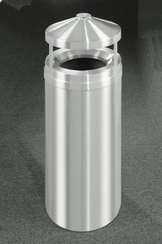 Glaro New Yorker Series Canopy Top Ash/Trash Receptacle in Satin Aluminum, 15 inch Dia x 39 inch H, 16 Gal, Shown in 12 Gallon Model with Many Other Sizes Available