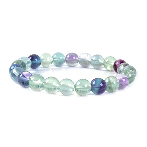 Natural A Grade Clear Fluorite Gemstone 8mm Round Beads Stretch Bracelet 7
