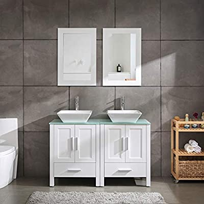 """48"""" Double Sink Bathroom Vanity Cabinet Glass/Marble Top White Wood w/Mirror Faucet and Drain (MDF Wood + Glass Top)"""