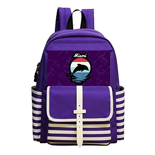New Trend Miami Beach Dolphin Oxford Travel Backpack Shoulder Bags School Backpack ()