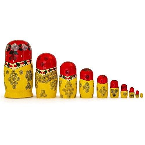 BestPysanky Set of 10 Traditional Semenov Russian Nesting Dolls Matryoshka 10 Inches by BestPysanky (Image #2)