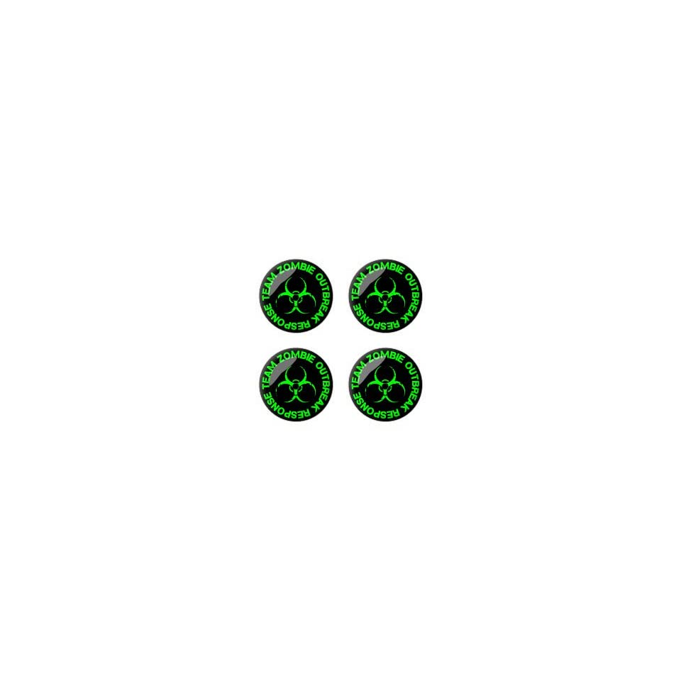 Zombie Outbreak Response Team Green   3D Domed Set of 4 Stickers Badges Wheel Center Cap