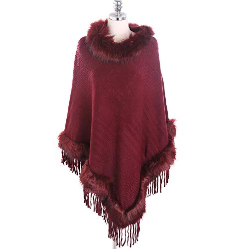 (Dressin Fashion Women Blanket Dot Pattern Tartan Coat Winter Casual Wrap Cozy Shawl Lady Dot Pattern Shawls (Free Size, Red-b) )