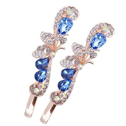 - Suoirblss 2PCS Rhinestone Flower Hair Clips Butterfly Graphics Hairpin Side Clip Bobby Pin Hair Accessories Women Lady Girls (Blue)