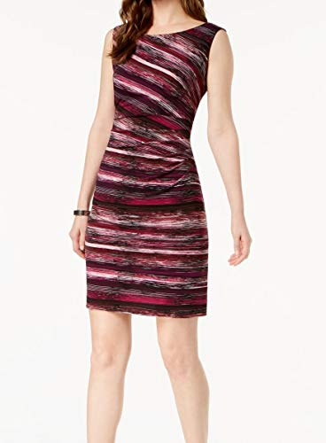 Connected Apparel Womens Petites Printed Sleeveless Sheath Dress Purple 10P