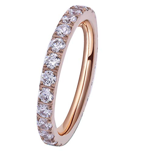 FlameReflection Womens Rose Gold Titanium Eternity Rings Cubic Zirconia CZ Wedding Engagement Band Size 9 (Bands Antique Engagement)