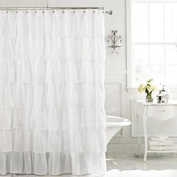 White 96 Extra Long Gypsy Shabby Chic Ruffled Fabric Shower Curtain