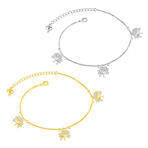 (Women's Anklet, Filigree Anklet for Women, The Tree of Life Anklet Gold 21CM)