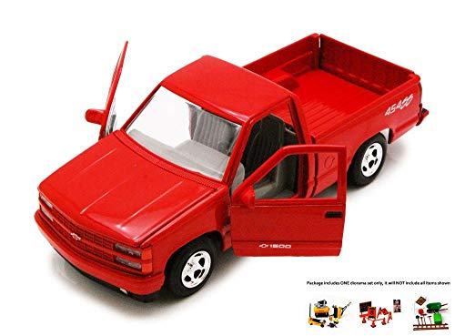 Pickup 454ss (Diecast Car & Free Diorama Set - 1992 Chevy 454SS Pick Up Truck, Red - Showcasts 73203 - 1/24 Scale Diecast Model Car w/Free Diorama Set)