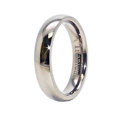 Classic 4mm Domed Titanium Wedding Band Size 5
