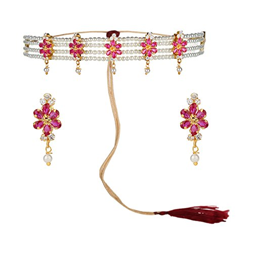 (Efulgenz Indian Traditional 18K Gold Tone Plated Ruby Pearl Beaded Collar Strand Moti Choker Necklace Jewelery Festive Costume Accessories for Women and Girls)
