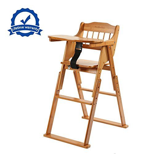 Wooden Folding Baby High Chair With Tray Adjustable Bamboo Height Chair Compact High Chair