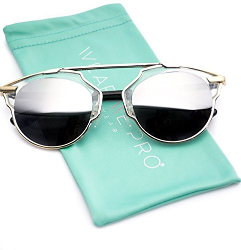 Mirrored Lens Fashion Designer Sunglasses for Women (Clear Frame / Mirror Silver, - Brow Sunglasses Bar