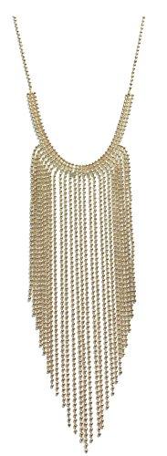 Gold bib statement ball chain fringe necklace - Fringe Bib