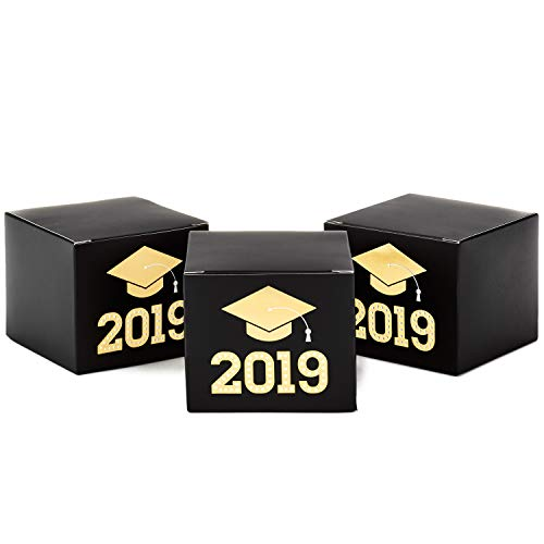 Hallmark Small Graduation Gift Boxes, Class of 2019 (Pack of 3, Black and Gold) -