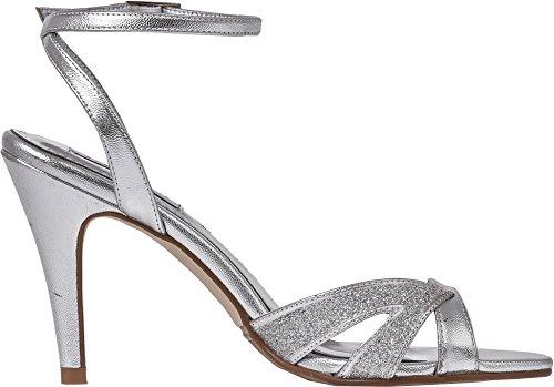 de diseño Zapatos fiesta Lexus de Correa con para Tacón honor el de tobillo alto Dama mujer tacón aguja de de y nupcial por Silver baile reluciente Sandalias brillante en pnqwx4zUq