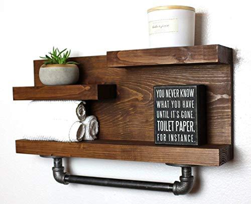 Bathroom Shelf with Industrial Farmhouse Towel Bar, Country Rustic Storage, Modern Farmhouse, Apartment Decor, Guest Storage