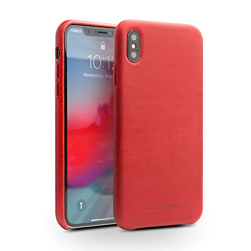 online store 898e5 a37c3 QIALINO Stylish Genuine Leather iPhone XR Case, Secure Fit Phone Bumper  with Raised Edge Protection and Ultra Thin Protective Covers for Apple  iPhone ...