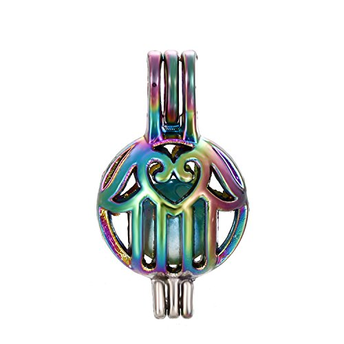 10pcs Colored Buddha Pearl Beads Cage Locket Pendant-Add Your Own Pearls, Stones, Crystals, Rock to Cage, Add Perfume or Essential Oil to Create a Scent Diffusing Locket Pendant Charms (Buddha Hand)