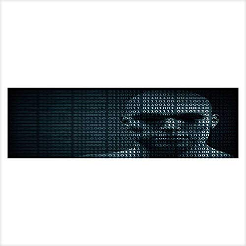 Auraisehome Decor Paper Cling Decals Sticker Man face Blended with Binary Code Digits Concept of Hacker,Coding,Programming Wallpaper Sticker Background Decoration -