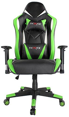 Accord Office Furniture (Ficmax High Back Computer Gaming Office Chair Recliner Rocker Tilt E-sports with Lumbar Massaging Support & Adjustable Headrest Pillow, Green/Black)