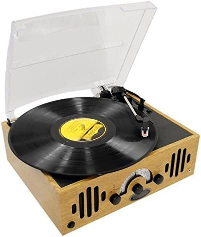 Upgraded Version Vintage Record Player - Classic Vinyl Player, Retro Belt-Drive Turntable With Three Speeds and AM/FM Radio, 45 RPM Adapter - Pyle ...