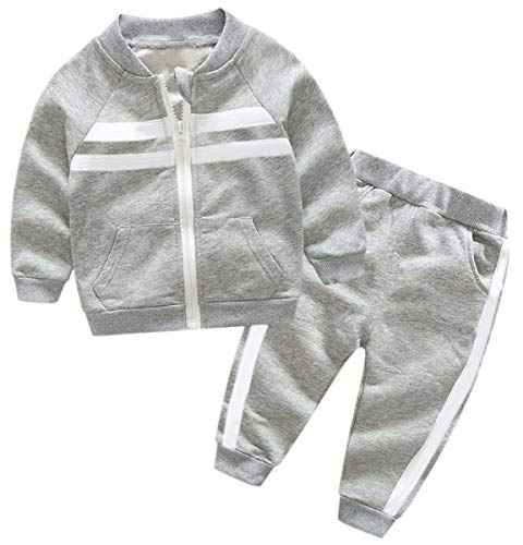 Kids Outfit, Varsity Track Jacket with Stripes & Sports Jogger Sweat Pants Set Sweat Suit Tracksuit for Toddlers, Little Boy & Girls, Grey, 6-7 Years = Tag -
