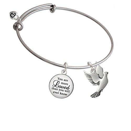 Silvertone Dove You Are More Loved Bangle Bracelet