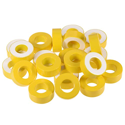uxcell 35pcs 23.8X 47.2 x 18.3mm Ferrite Ring Iron Powder Toroid Cores Yellow White by uxcell