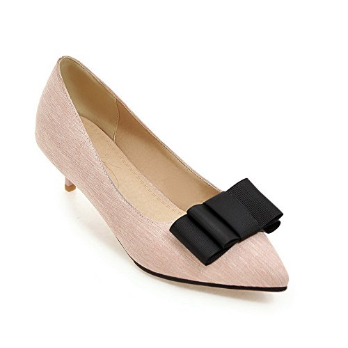BalaMasa Ladies Bows Low-Cut Uppers Pull-On Urethane Pumps-Shoes Pink 3gxVj4F9