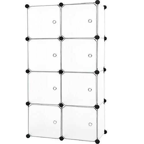(C&AHOME - DIY 8 Cube Organizer Storage Cabinet Wardrobe Closet with Door, Semitransparent)